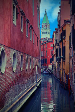 Bell Tower of Saint Mark in Venice in Italy with vintage effect