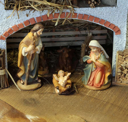 Traditional nativity scene with the Holy Family and the baby Jesus