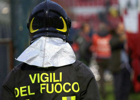 Italian firefighter with uniform with the written FIREFIGHTERS in the Stadium during the soccer event