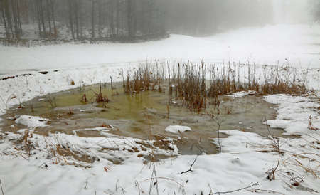 frozen pond in winter amidst the field with white snow in the mountains
