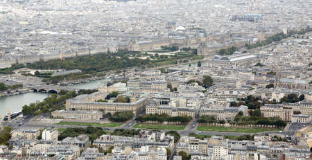 Paris, France - August 21, 2018: Urban Panorama and the Louvre Museum in background