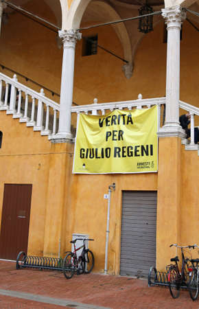 Ferrara, FE, Italy - November 3, 2018:  banner with the italian text which means Truth for Giulio Regeni who is a person killed in Egypt in 2016