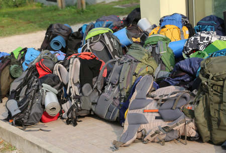 many backpacks of boys scout during the summer camp