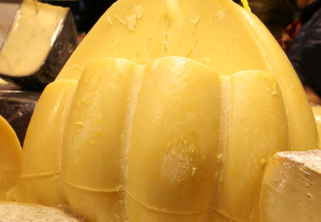 yellow italian hard cheese called Provolone  for sale at dairy