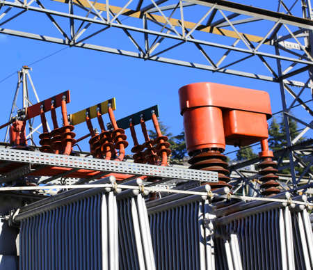 particular of a big voltage transformer in a power plant Stockfoto