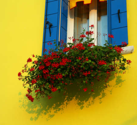 house with flowery balcony with red geraniums on the isle of Burano near Venice in Italy