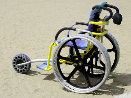 special wheelchair to be able to move on the beach Stock fotó