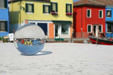 big glass sphere in Burano Island near Venice in Italy