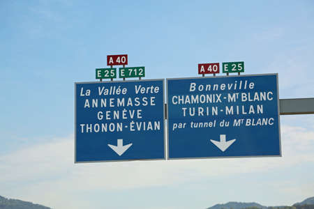 big French road sign with directions to the Mont Blanc tunnel on the border with Italy