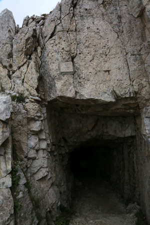 Last Tunnel in the mountain Road called Strada delle Gallerie in Italy