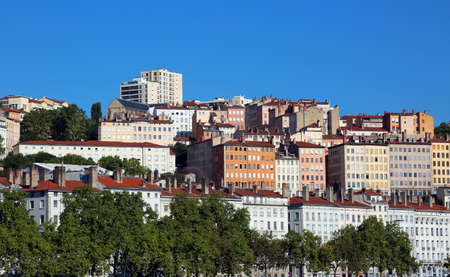 view of the building on the hill of the city of Lyon in the south of France Stock Photo