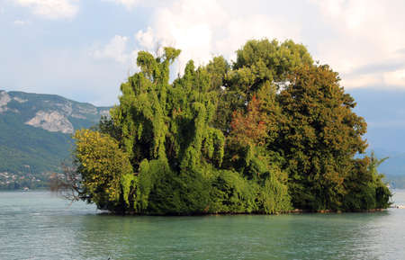 island with many trees on the lake Stock Photo