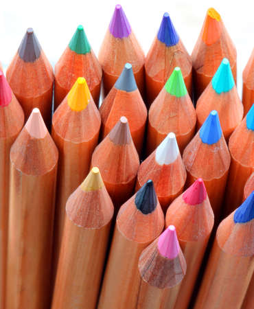 background of many colored pencils in kindergarten