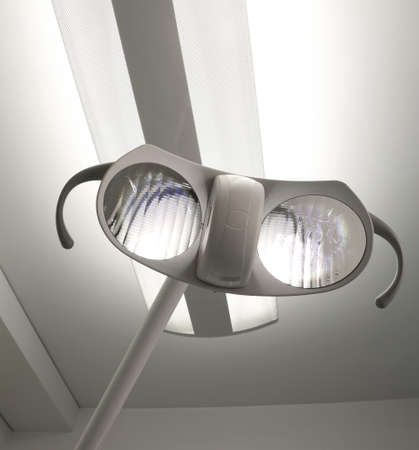 double surgical lighting in the operating theater of hospital without people