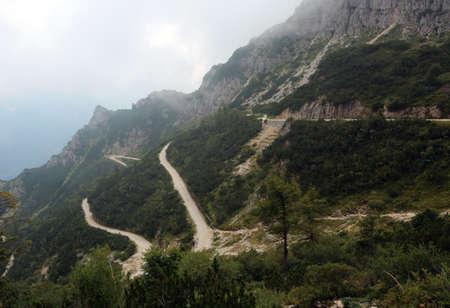 very long mountain road called Strada degli Scarubi in Northern Italy Stock Photo