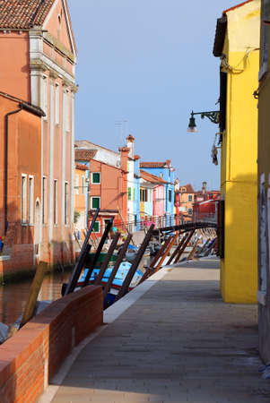 foreshortening with colorful houses in the island of Burano near Venice in Italy Stock Photo