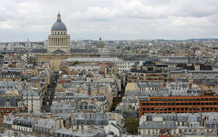 Urban Panorama of Paris in France with Pantheon and more buildings Stock Photo