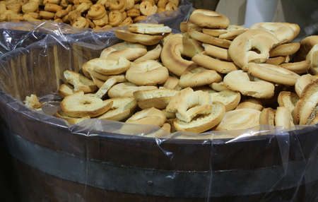 many pieces of bread called Friselle in Italian Language