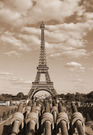 Eiffer tower from Trocadero Quartier and the cannons with sepia toned effect