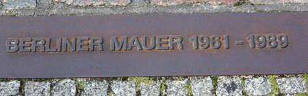 commemorative plaque placed on the site where once stood the Berlin Wall with big text BERLINER WALL that means Wall of Berlin in German language and the years