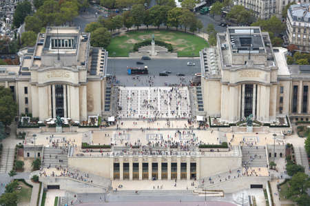 Paris, France - August 21, 2018: Palace of Chaillot in the Torcadero Quartier from Eiffel Tower