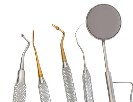 five tools on white background in the medical dental clinic Stock fotó