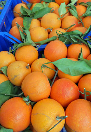 many organic oranges with leaves in the fruit box on sale at the market Stockfoto