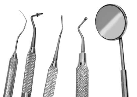 Mirror and dental tool to remove tartar and more tools in the dental office Stock fotó