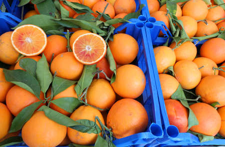 boxes of oranges not treated with pesticides but natural and bioloighe on sale in the market of products at zero kilometer Stok Fotoğraf - 116433509