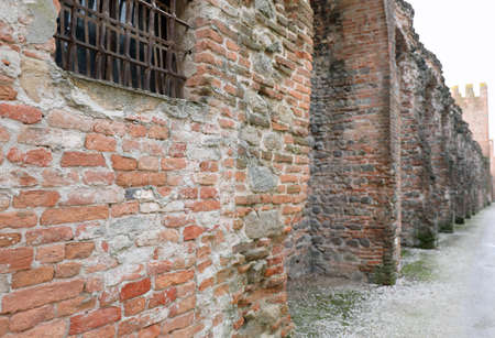 Old City wall of Montagnana town in Veneto Region in Northern Italy