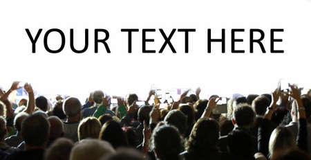 many people with smartphone during an event and customizable text on a white background Archivio Fotografico