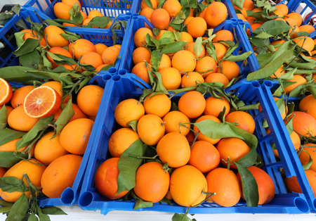 organic oranges with green leaves for sale in fruit vendor's fruit boxes