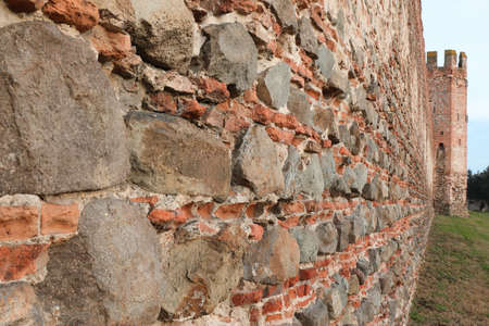 Ancient City wall of Montagnana town near Padua city in Veneto Region in Italy Stock Photo