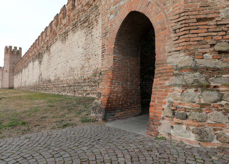 ancient entrance gate in the medieval defense walls of the town of MONTAGNANA a small town near Padua in the VENETO region in Northern Italy