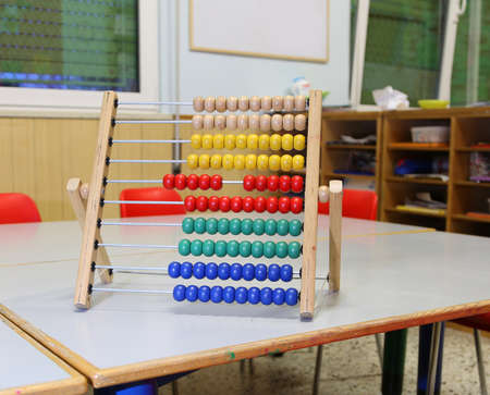 Inside a classroom of a Kingergarten with abacus on the table and small red chairs