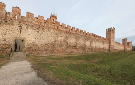 Long City wall of Montagnana town near Padua city in Northern Italy