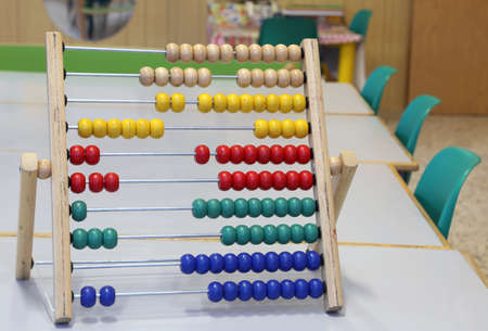 wooden abacus to learn how to count numbers in decimal or base ten
