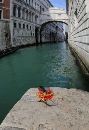 Venice in Italy and the waterway called RIO PALAZZO and the famous bridge of sighs Banco de Imagens - 120002980