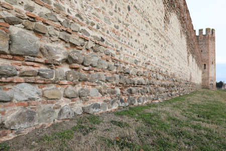 ancient  medieval defense walls of the town of MONTAGNANA a small town near Padua and old tower in Northern Italy