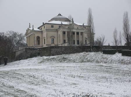 Vicenza, VI, Italy - March 1, 2018: ancient villa called La ROTONDA in winter with snow