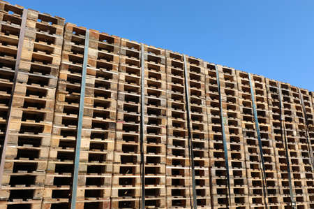 many pallets for the transport of the goods