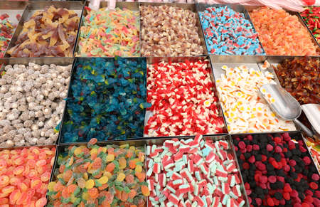 background of many colorful and sugary candies in the candy store 版權商用圖片