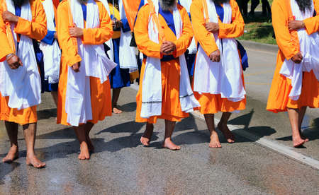 adherents of the Sikh religion during a march on the barefoot road