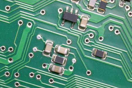 miniaturized electronic components of an electrical circuit photographed with macro lens Stock fotó