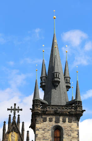 bell tower of the Church of St. Mary of Tyn in the European capital PRAGUE in the Czech Republic