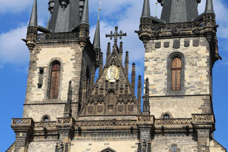 facade of the Church of Saint Mary of Tyn in the European capital PRAGUE in the Czech Republic Stock Photo