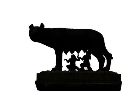 Capitoline Wolf also called Lupa Capitolina in Italian language is a symbol of Rome in Italy on white background