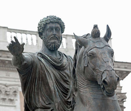 Ancient Equestrian Statue of Marcus Aurelius in Campidoglio Area in Rome Italy