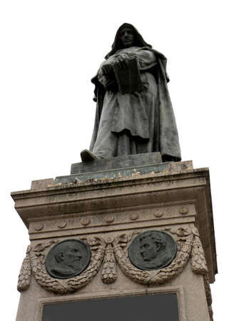 statue of GIORDANO BRUNO who was excommunicated and incarcerated and judged heretical and he was burnt alive in Sqaure called Campo de Fiori in Rome Italy Banco de Imagens - 120229276