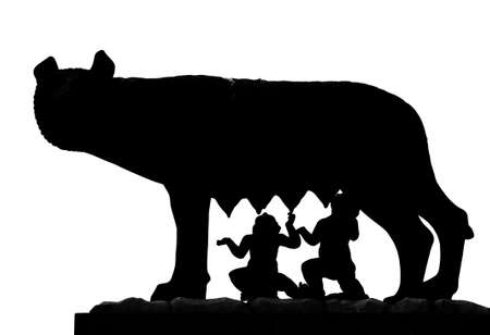 black shape of Capitoline Wolf called Lupa Capitolina in Italian language with twin founders of Rome Romulus and Remus